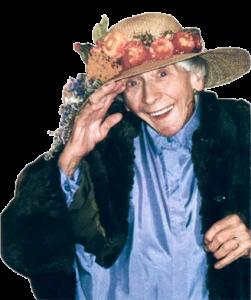 Fröhliche alte Dame mit Hut, grueßend