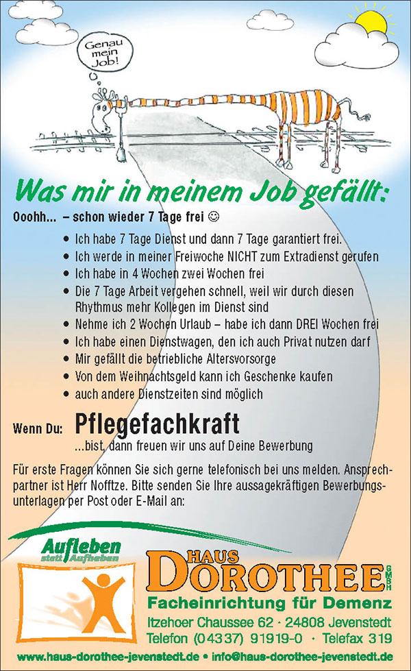 Stellenangebot-Pflegefachkraft-Haus Dorothee, Jevenstedt